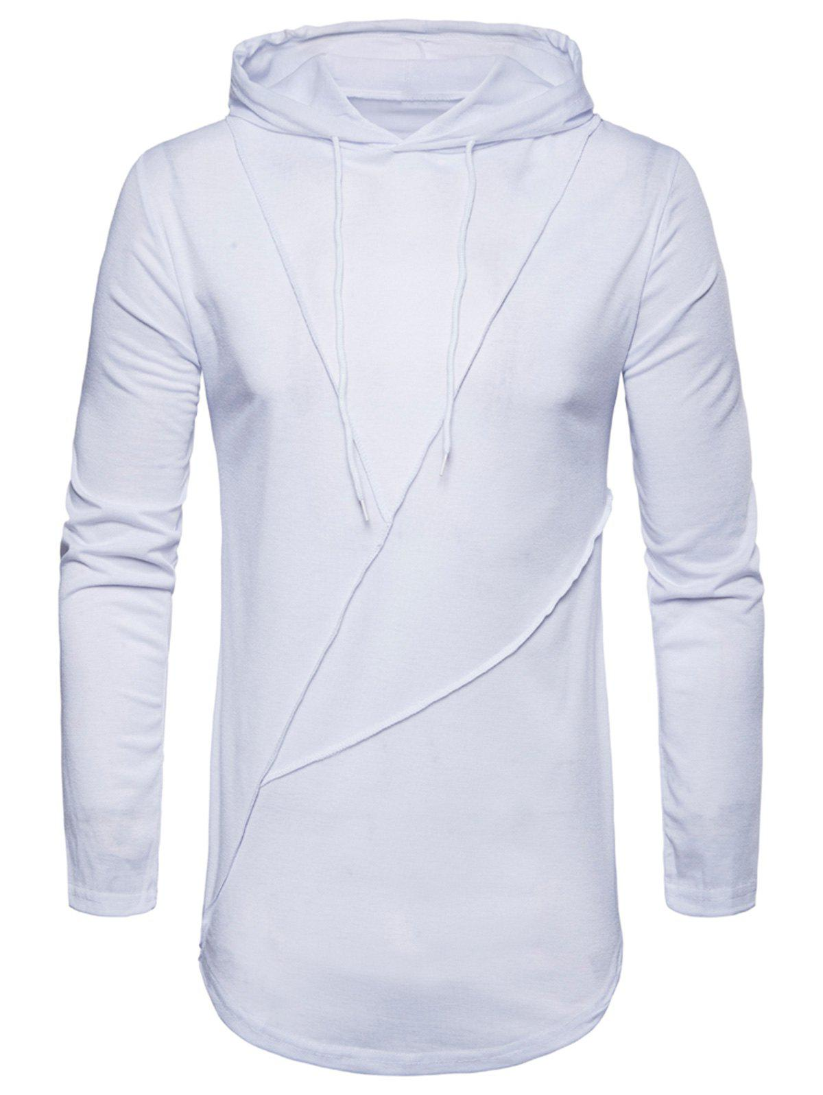 Buy Long Sleeve Solid Color Zip Hem Hooded T-shirt