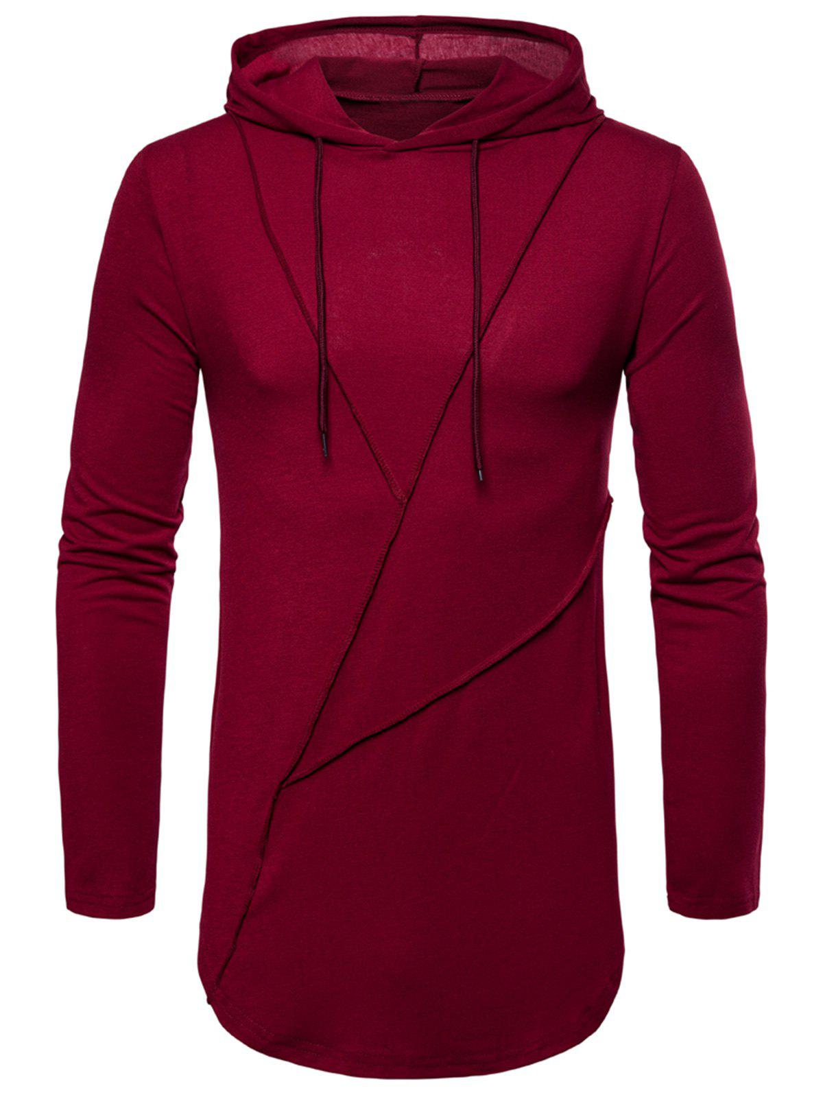 Sale Long Sleeve Solid Color Zip Hem Hooded T-shirt