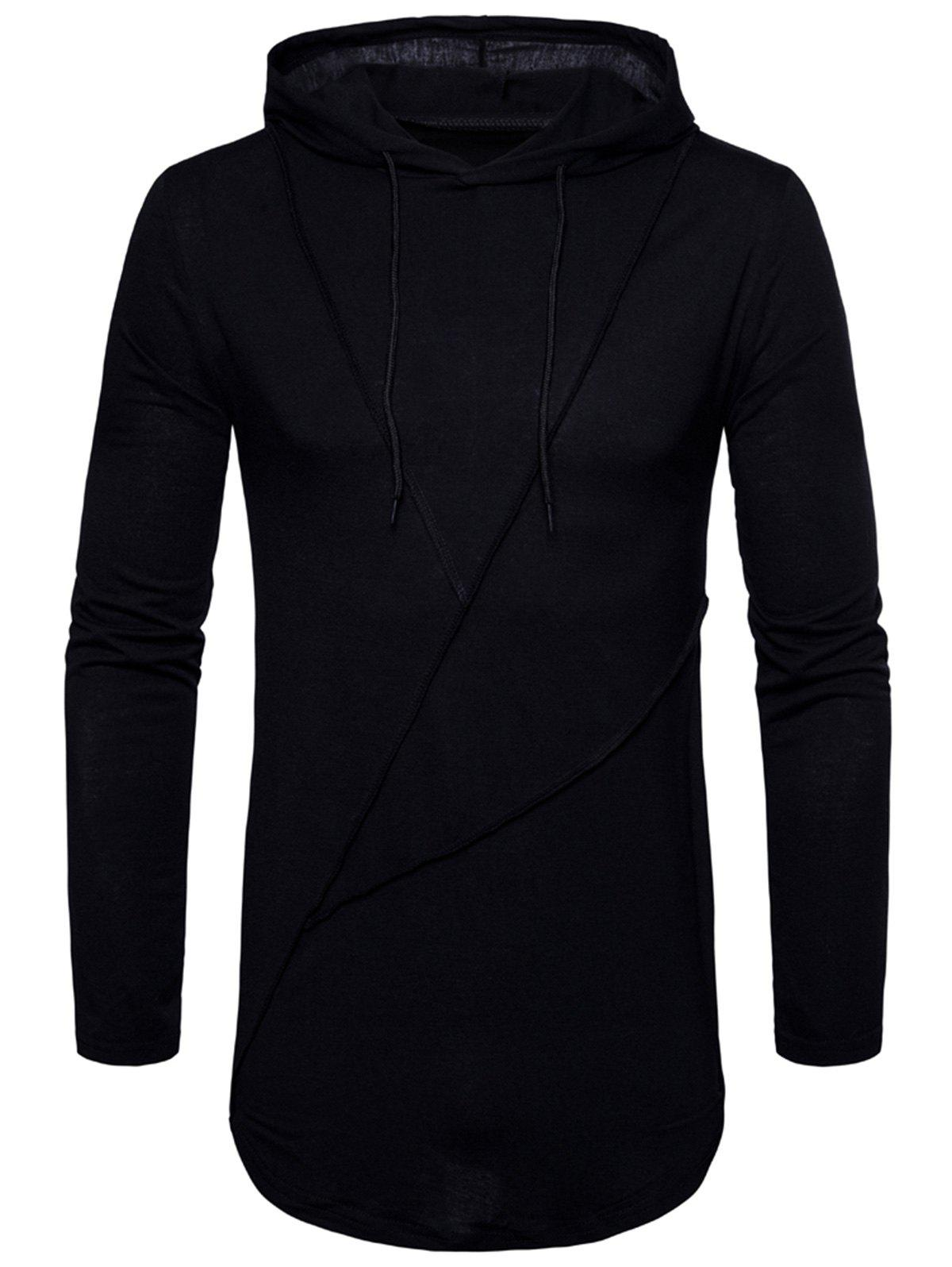 Unique Long Sleeve Solid Color Zip Hem Hooded T-shirt
