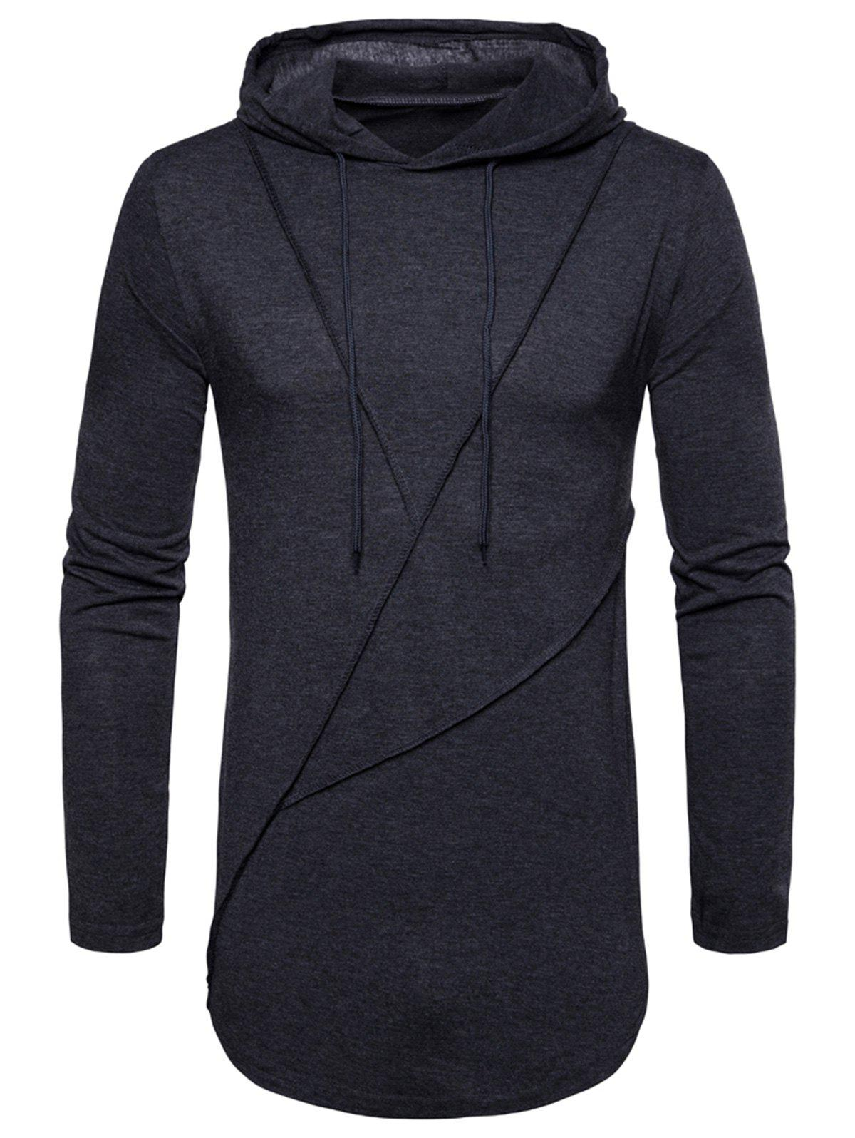Store Long Sleeve Solid Color Zip Hem Hooded T-shirt