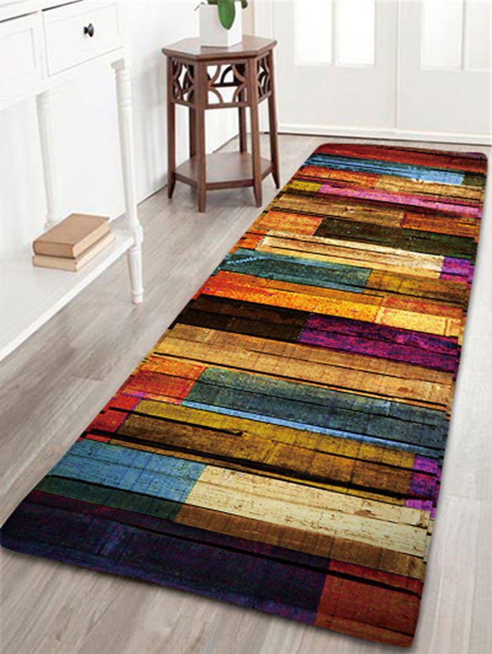 Best Colorful Stripes Wood Grain Flannel Rug