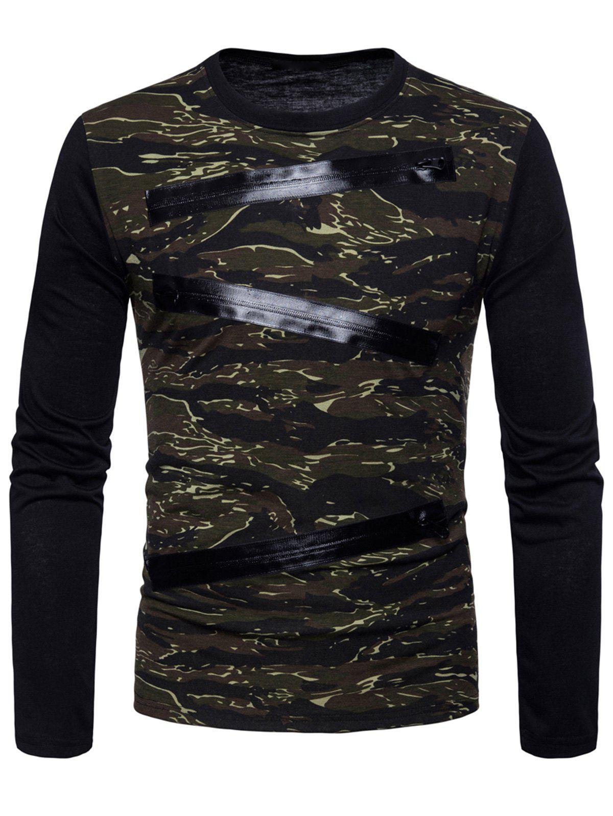 Affordable Long Sleeve Camo Pattern T-shirt