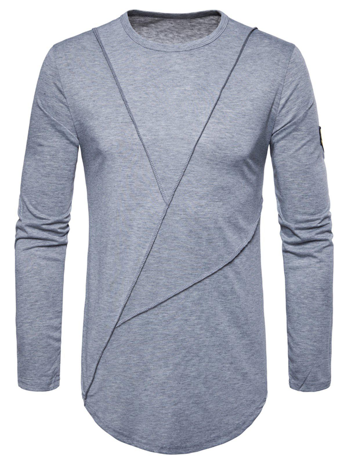 49441d7db2df 67% OFF ] 2019 Embroidered Arrow Curved Hem Crew Necklace T-shirt ...