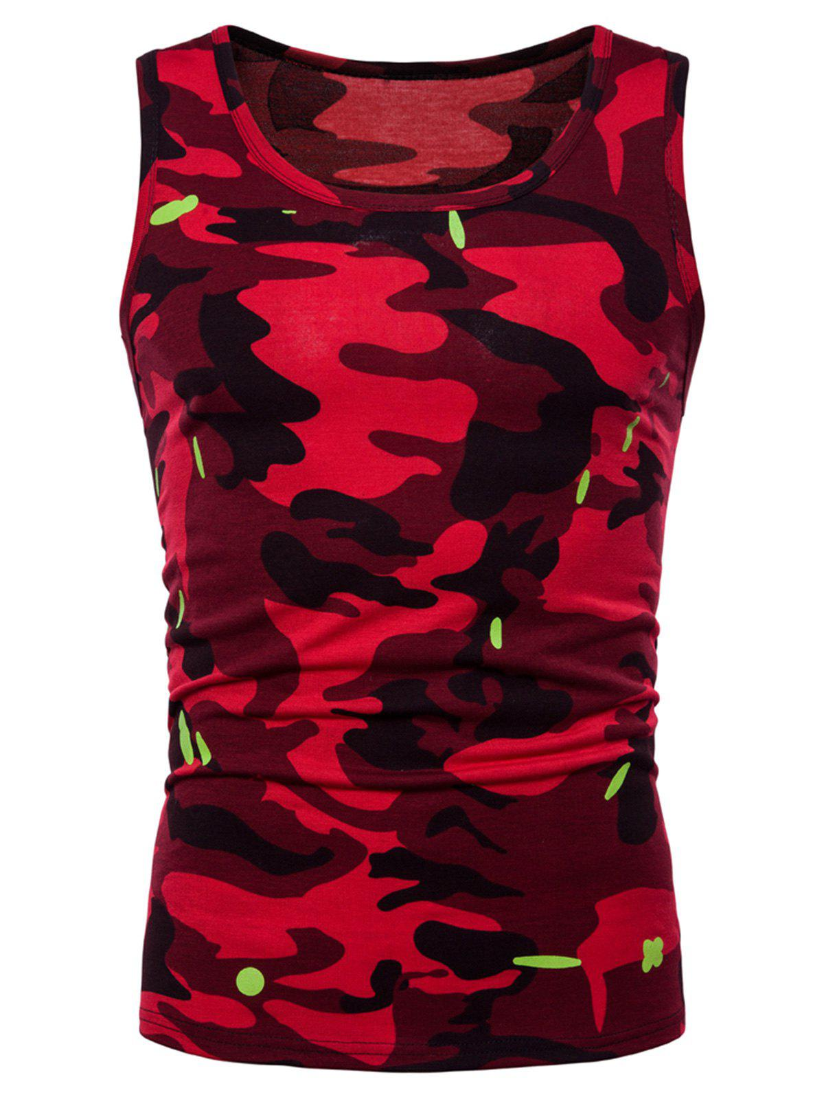 Affordable Relaxed Fit Camo Print Tank Top