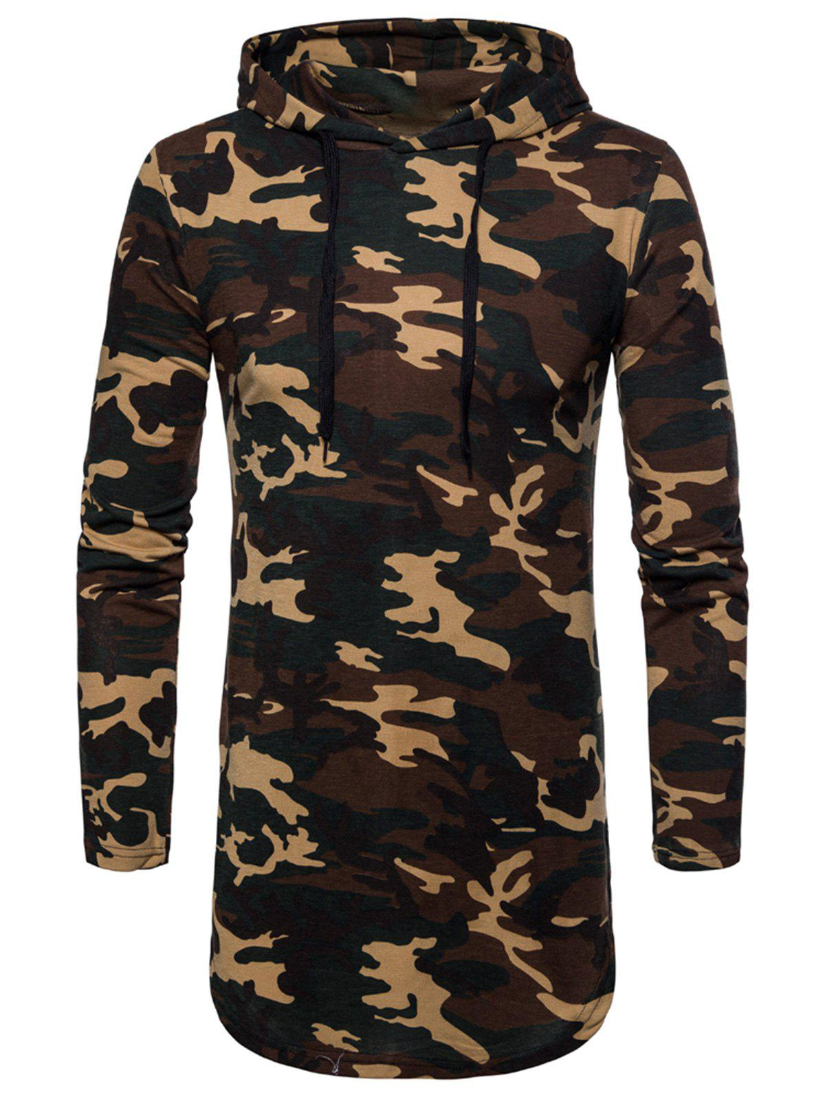 Outfits Drawstring Camouflage Hoodie