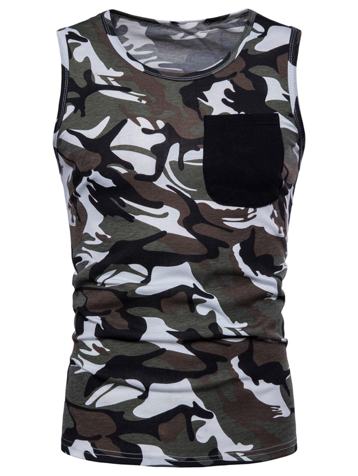 Latest Pocket Camo Print Tank Top