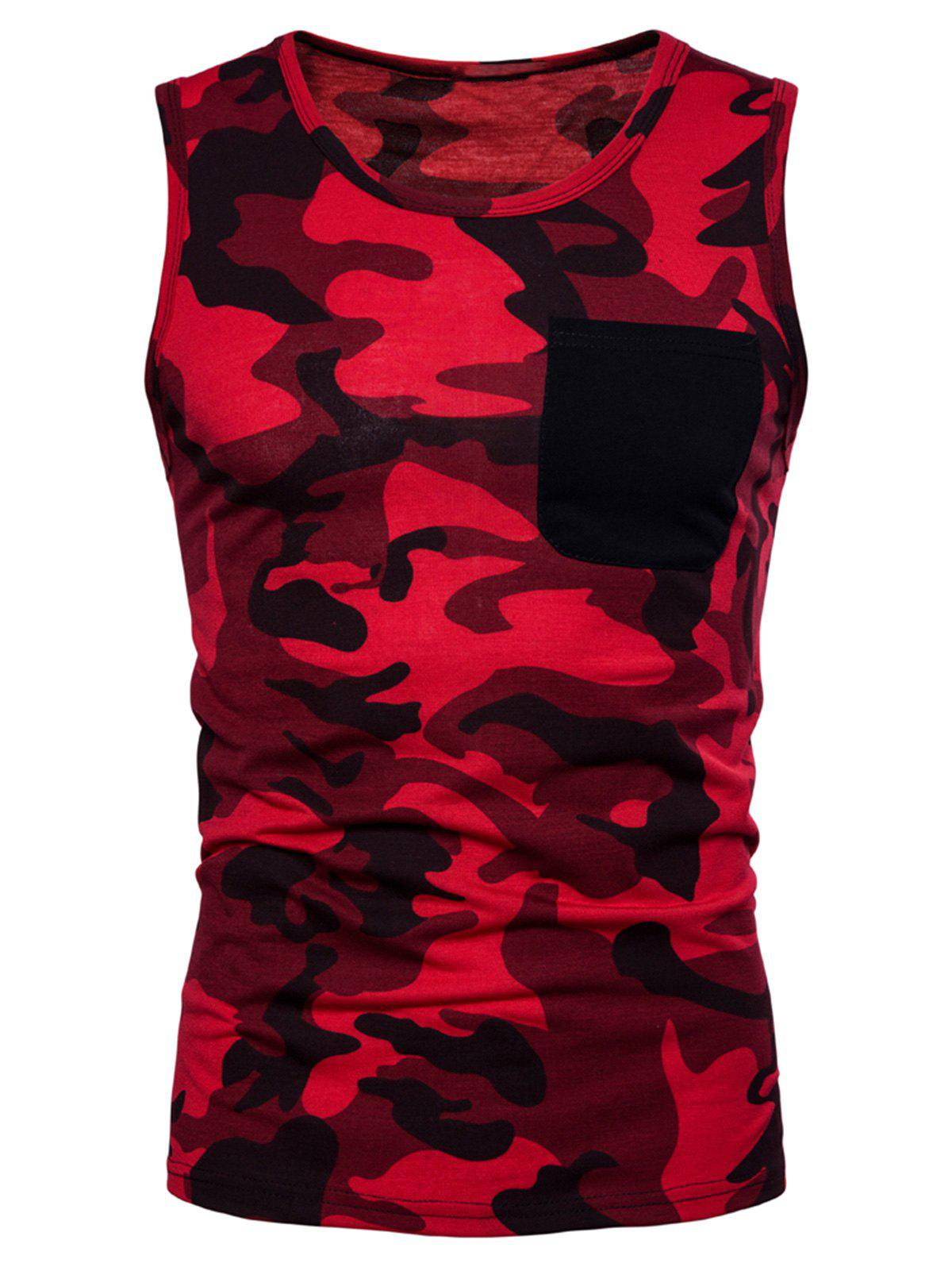 Fashion Pocket Camo Print Tank Top