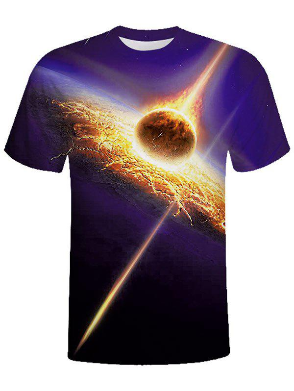Sale Crew Neck Asteroid Strike Print Tee