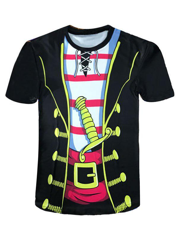 Chic Crew Neck Cartoon Pirate Costume Novelty Tee