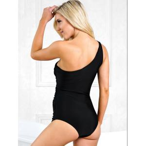 Mesh Panel One Shoulder One Piece Swimsuit -