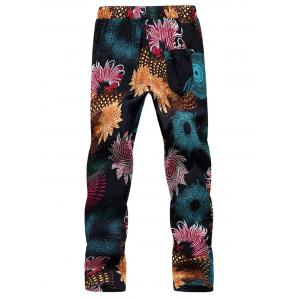Lace Up Flowers Print Ninth Pants -