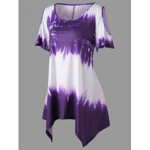 Plus Size Ombre Print Cold Shoulder T-shirt -