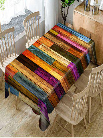 Outfit Colorful Wood Grain Print Fabric Waterproof Table Cloth