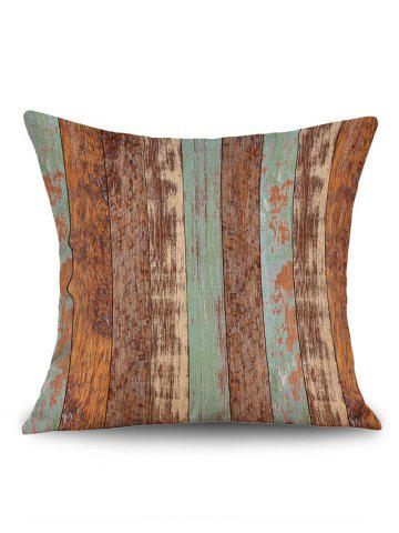 Latest Retro Wood Grain Print Decorative Linen Sofa Pillowcase