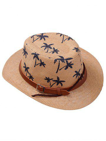 Cheap Coconut Tree Printed Cowboy Straw Hat