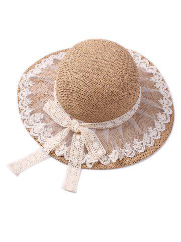 New Lace Embellished Bowknot Straw Hat