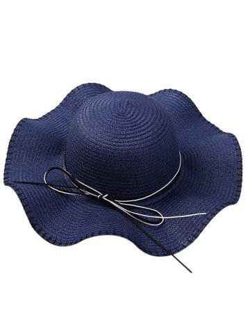 Hot Bowknot Lace Up Wide Straw Hat