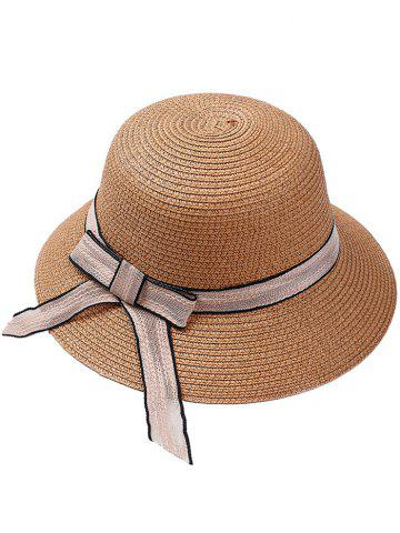 Store Bowknot Embellished Wide Straw Hat
