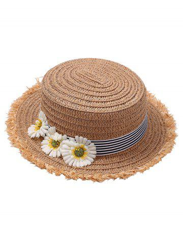 Sale Striped Straw Hat with Sunflower