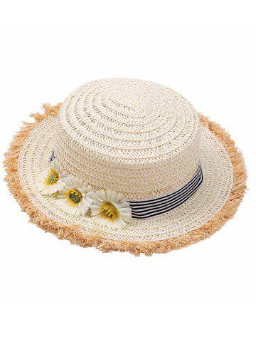 Discount Striped Straw Hat with Sunflower