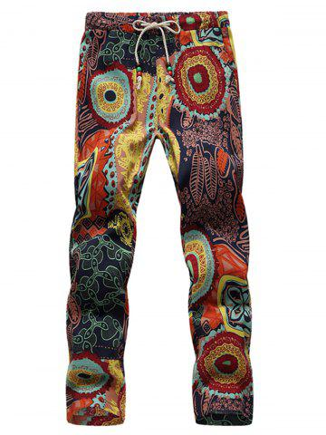 Buy Vintage Leaf and Floral Print Ninth Pants