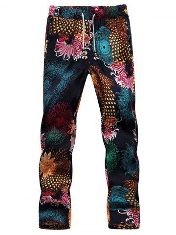 Shop Lace Up Flowers Print Ninth Pants