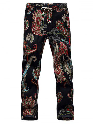 Outfits Lace Up Cotton Linen Printed Ninth Pants
