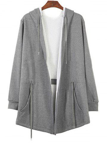 Fancy Pockets Drawstring Longline Hoodie