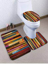 Wooden Grain Print Flannel Toilet Mat Set -