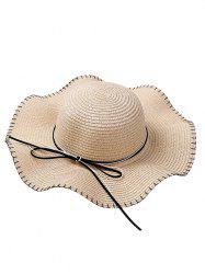 Bowknot Lace Up Wide Straw Hat -