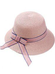 Bowknot Embellished Wide Straw Hat -
