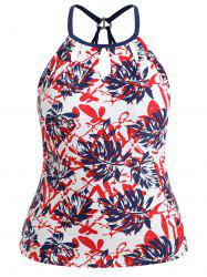 Plus Size Leaf Print Keyhole Swim Top -
