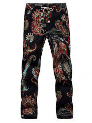 Lace Up Cotton Linen Printed Ninth Pants -