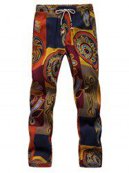 Lace Up Tribal Print Neuvième Pantalon -