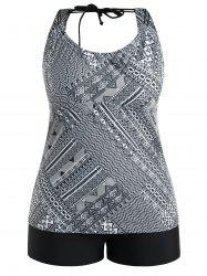 Plus Size Geometric Open Back Tankini Set -