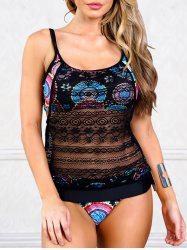 Lace Overlay One Piece Swimsuit -