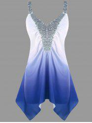 Plus Size Asymmetric Sequins Ombre Tank Top -