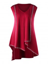 Plus Size Rivet Decorated V Neck Asymmetric Tank Top -