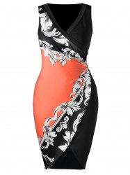 Plus Size Bandana Floral Sleeveless Pencil Dress -