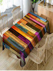 Colorful Wood Grain Print Fabric Waterproof Table Cloth -