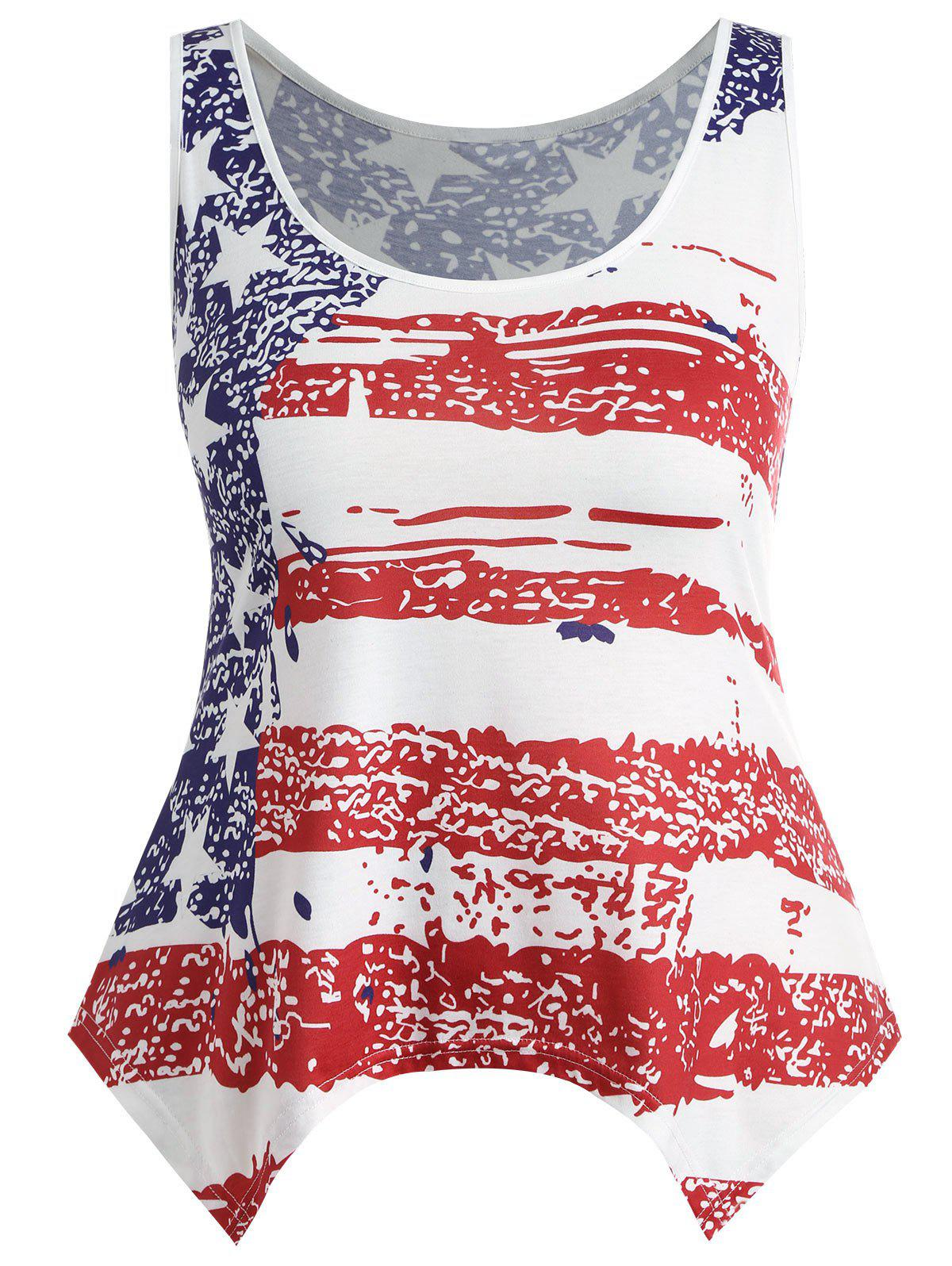 c8b2cf16a19 Outfit Plus Size American Flag Print Tank Top