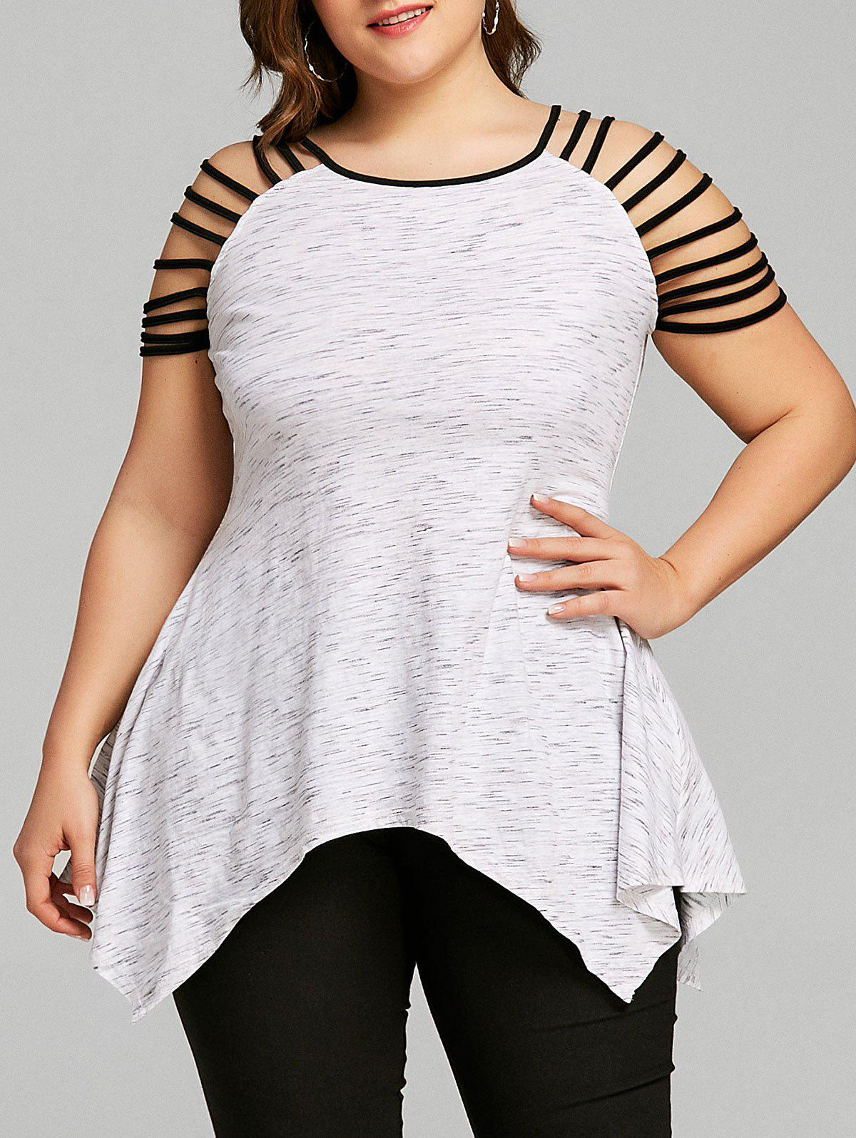 Store Plus Size Marled Ladder Cut T-shirt