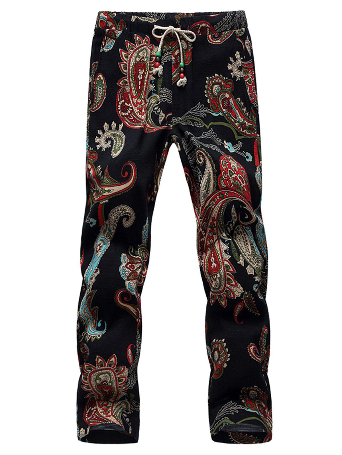 Buy Lace Up Cotton Linen Printed Ninth Pants