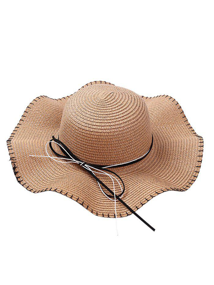 Trendy Bowknot Lace Up Wide Straw Hat