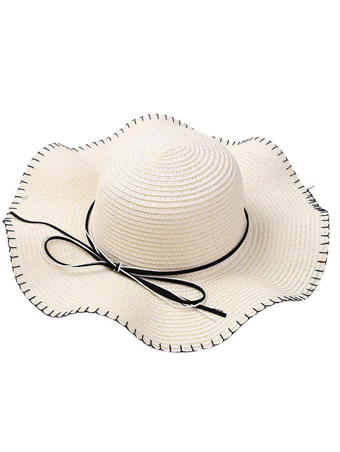 Latest Bowknot Lace Up Wide Straw Hat