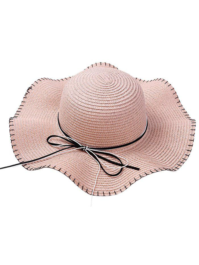 Shop Bowknot Lace Up Wide Straw Hat