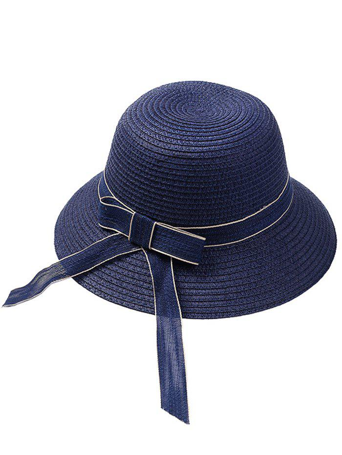 Affordable Bowknot Embellished Wide Straw Hat