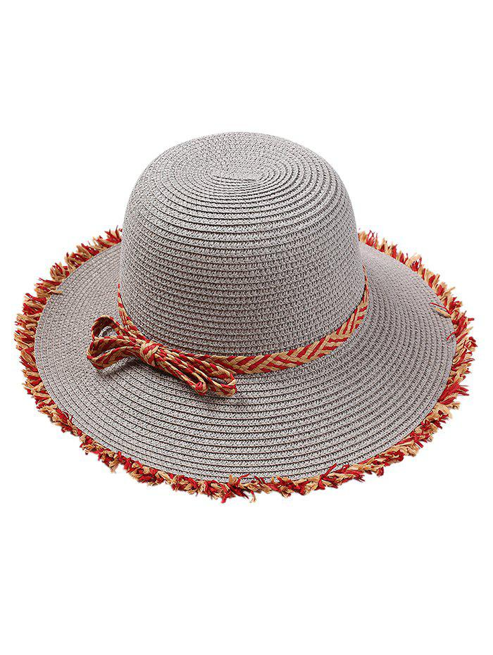 Fashion Vintage Bowknot Embellished Straw Hat