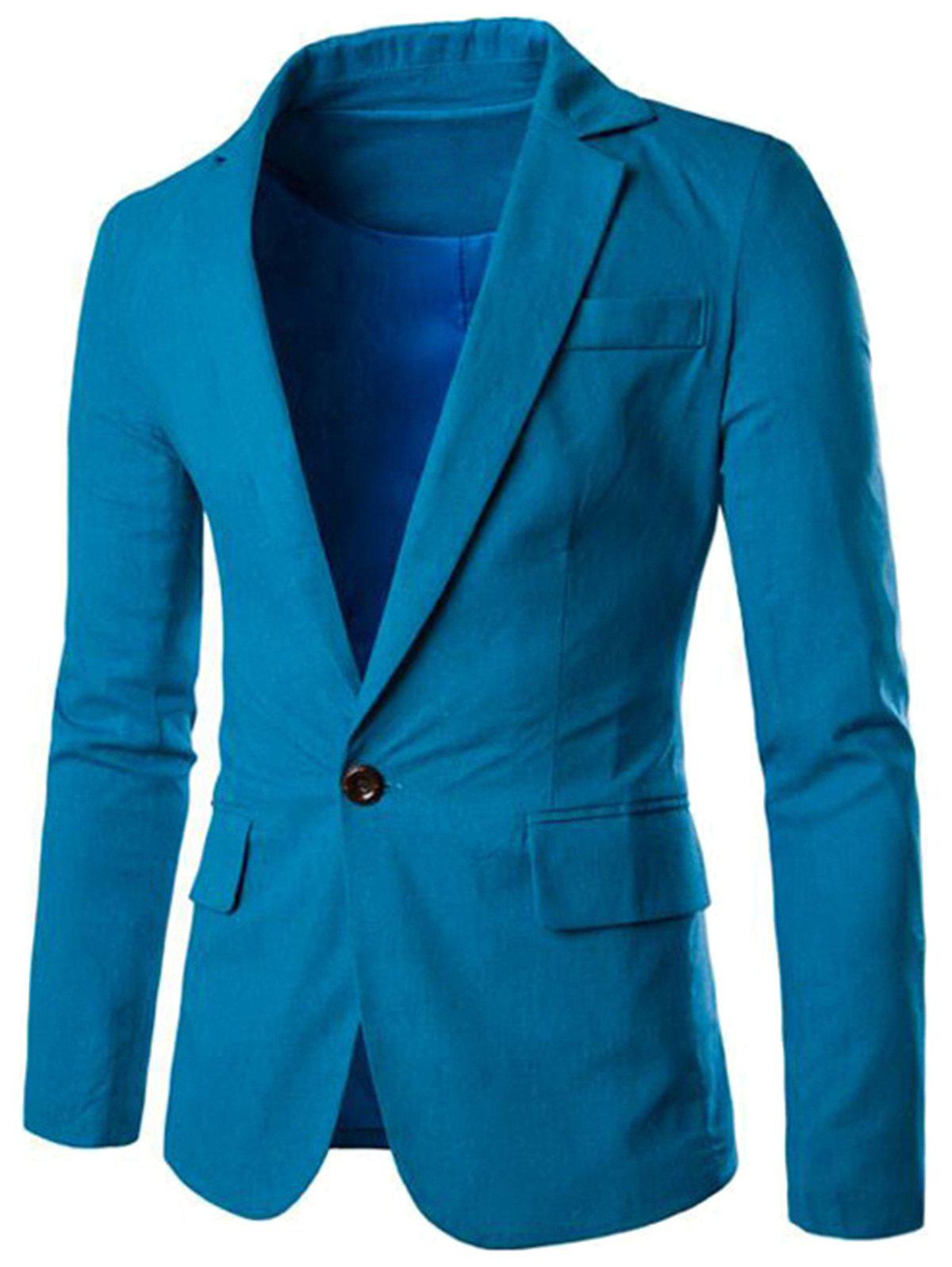 Online Color Block Panel Collar Blazer