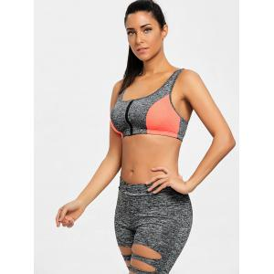 Racerback Zip Up Sports Bra -